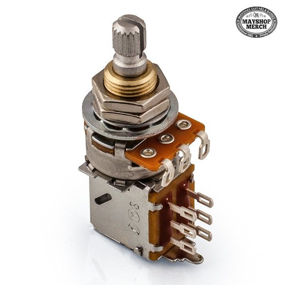 Potentiometer Middle Push Pull - 50K Ohm with center click for bass preamps.